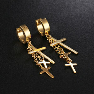 Cross-Tassels-Silver-Black-Yellow-Gold-GP-Surgical-Steel-Huggie-Earrings-Gift