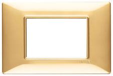 VIMAR 14653.24 PLACCA 3 MODULI ORO LUCIDO SERIE PLANA