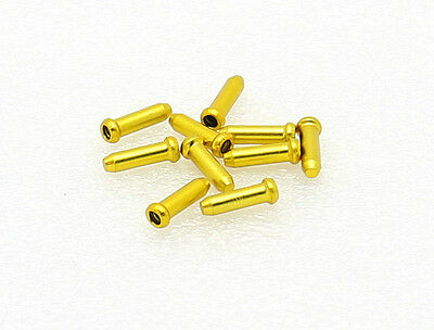25 Bike Bicycle Shift Brake Cable Ends Tips Caps Crimps GOLD YELLOW