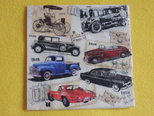 5 Servietten CLASSIC CARS nostalgie Klassik Auto Oldtimer Serviettentechnik 1//4