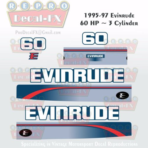 1995-97 Evinrude 60HP 3 Cylinder Outboard Reproduction 8Pc Marine Vinyl Decals