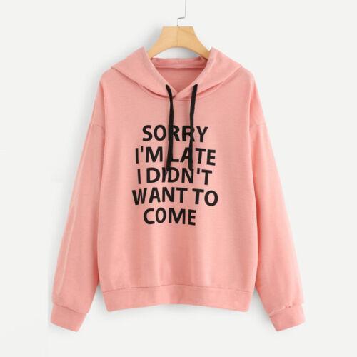 Women Girl O-Neck Hoodie Jumper Long Sleeve Letter Print Sweatshirt Pullover Top