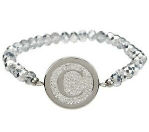 Qvc Steel By Design Crystal Initial Stretch Bracelet One Size Fits