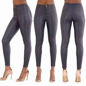 WOMEN HIGH WAIST PLUS SIZE LEATHER LOOK JEANS Skinny FitTrousers SIZE 6-20