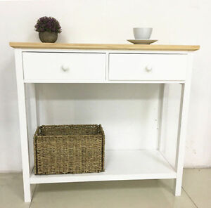 Image Is Loading Vintage Console Table 2 Drawer Wood Hallway Storage