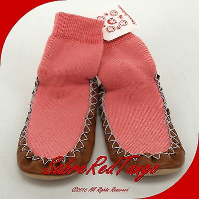 NWT HANNA ANDERSSON SWEDISH SLIPPER MOCCASINS MOCS CHARMING PINK 12-1A 30-32
