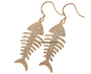 ROSE GOLD PLATED 925 STERLING SILVER HAWAIIAN FISH BONE HOOK EARRINGS CZ 11MM