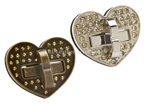 Forma De Corazón Diamante Imitación Metal Cartera Bolso de bloqueo de giro giro 2 Colores