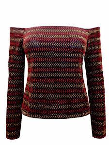 Ex-Topshop-Multicolour-Black-Gold-amp-Red-Stripe-Off-Shoulder-Crop-Top
