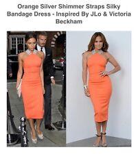 Hot Miami Styles Bandage Dress Inspired By J LO Victoria Beckham Orange/Silver