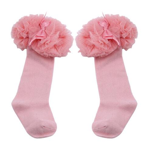 Baby Toddler Girls Socks Ruffle Cuff Princess Cotton Dress Lace Trim Bowknot G