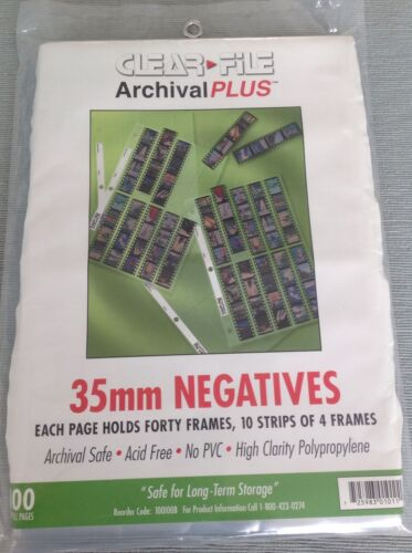 Clear File Negative Storage Pages for 35mm Qty 50