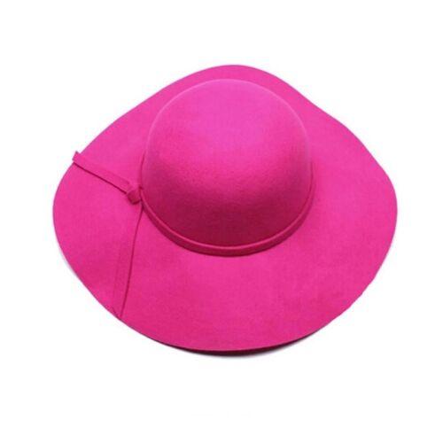 Vintage Women/'s Ribbon Wide Brim Wool Felt Bowler Fedora Hat Floppy Cloche