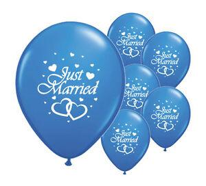 """Uni 10 Just Married Bleu Foncé 12"""" Hélium Qualité Perlée Mariage Ballons (pa)-afficher Le Titre D'origine Soulager La Chaleur Et Le Soleil"""