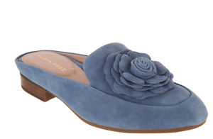 ad71cb6c269 Taryn Rose Suede Loafer Mules Blythe Denim Blue Suede Women s Size ...