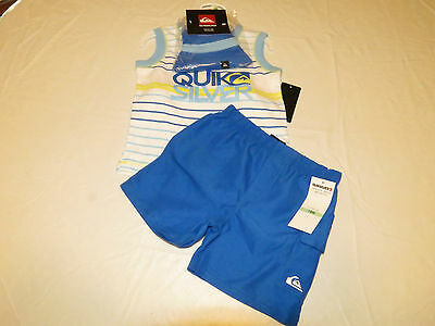 Quiksilver Boy's baby youth Tank top swim shorts hat 3 pc set 12 M 4057024-99