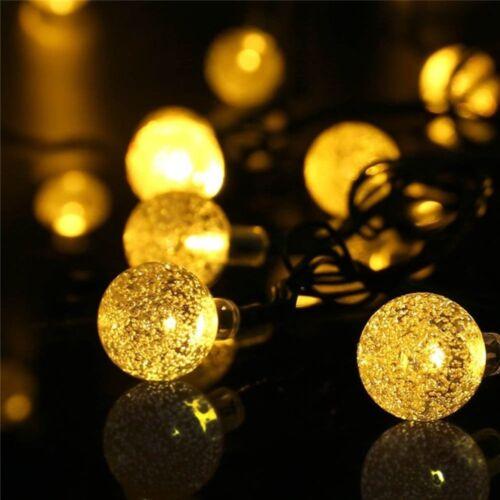 30 DEL Solaire Jardin Globe Lampe boule chaîne fée coloré blanc chaud étanche