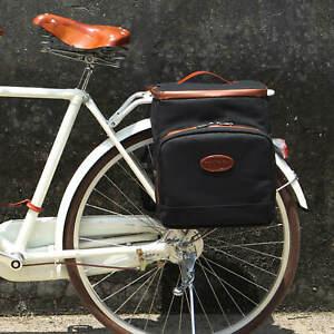 Tourbon Waterproof Canvas Bike Double Pannier Rear Insulation Cooler Picnic Bag