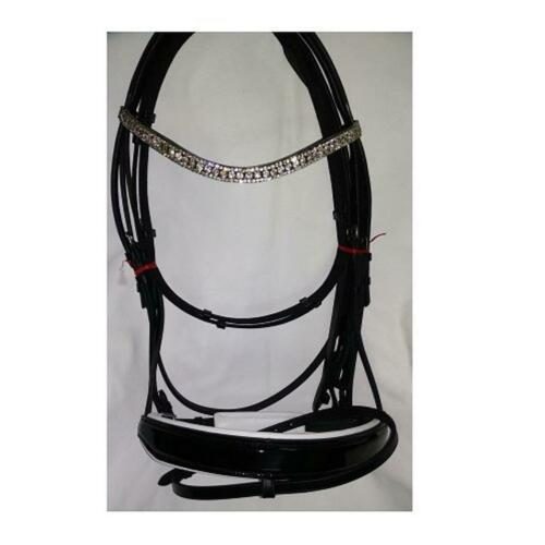 Details about  /Bridle Leather Patent Bridle with 3 row clear Crystal BrowBand