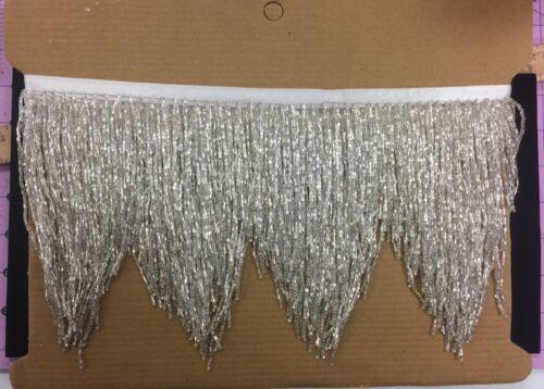 "5yd Bolt 6/"" SILVER Glass BUGLE SEED Beaded Fringe CHEVRON Lamp Costume Trim"