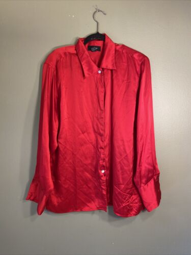 Silk House ladies large red blouse 100% silk long
