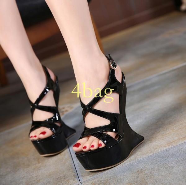 femmes High Heel Party chaussures Cross Strap Clubwear Platform Wedge Sandals Sexy SZ