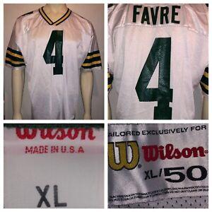 Vtg-Wilson-Brett-Favre-Green-Bay-Packers-Men-s-White-Sewn-NFL-Jersey-Size-50-USA