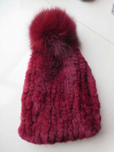 Real Rex Rabbit Fur Beanie Women Winter Warm Hats Handmade Cap Vertical Stripe