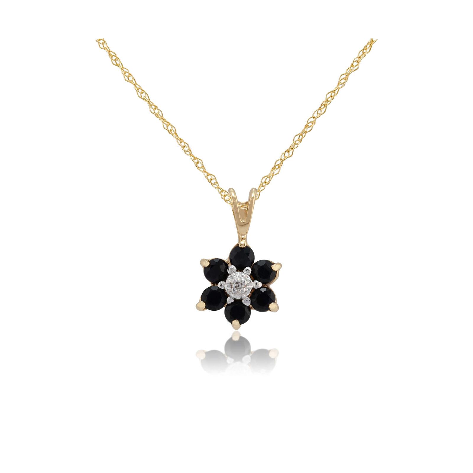 9ct Yellow gold 0.55ct Sapphire & Diamond Cluster Pendant on Chain