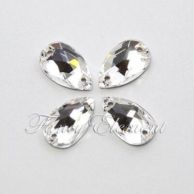 12/48/96pc Swarovski Crystal Teardrop 3230 Clear 12x7mm Sew On Rhinestone Foiled