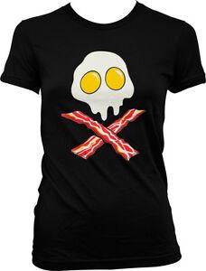 Bacon-And-Eggs-Skull-And-Crossbones-Breakfast-FREE-SHIP-Juniors-Girls-T-shirt