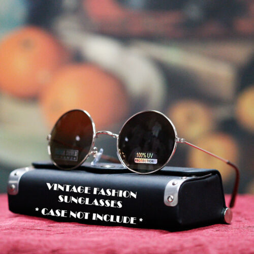 NEW MENS 80/'S GOLD Style SUNGLASSES VINTAGE ROUND CELEBRITY SHADES BROWN LENS