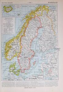 1913 Map Scandinavia Sweden Norway Denmark Iceland Stockholm Bergen Christiania Modern Techniques Maps, Atlases & Globes World Maps