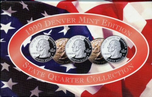 """A COMPLETE Denver Set 1999 D Five Coin /""""BU/"""" State Quarter Set with Box and COA"""