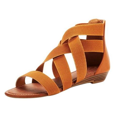 Damen Sandalen Offene Zehe Flache Absätze Strandsandalen Reißverschluss Sommer