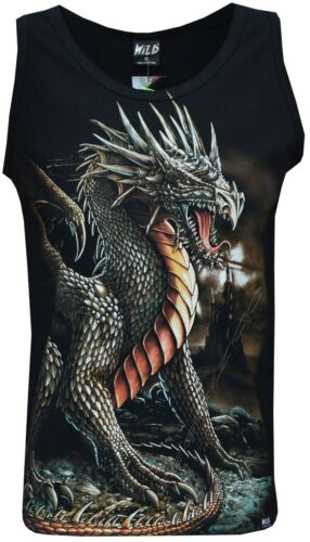 3XL New Chinese Dragon Glow in the Dark Gothic Sleeveless Vest Tank Top M