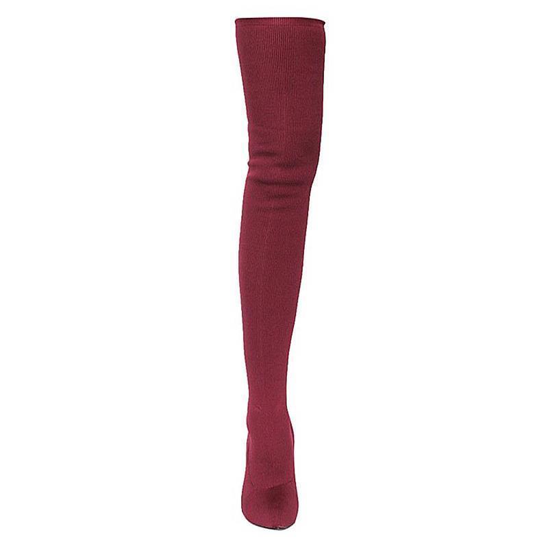 SEXY Ponte Burgundy Pointy Toe Stretch Ponte SEXY Stiletto Heel Over Knee Thigh High Stiefel 71b178