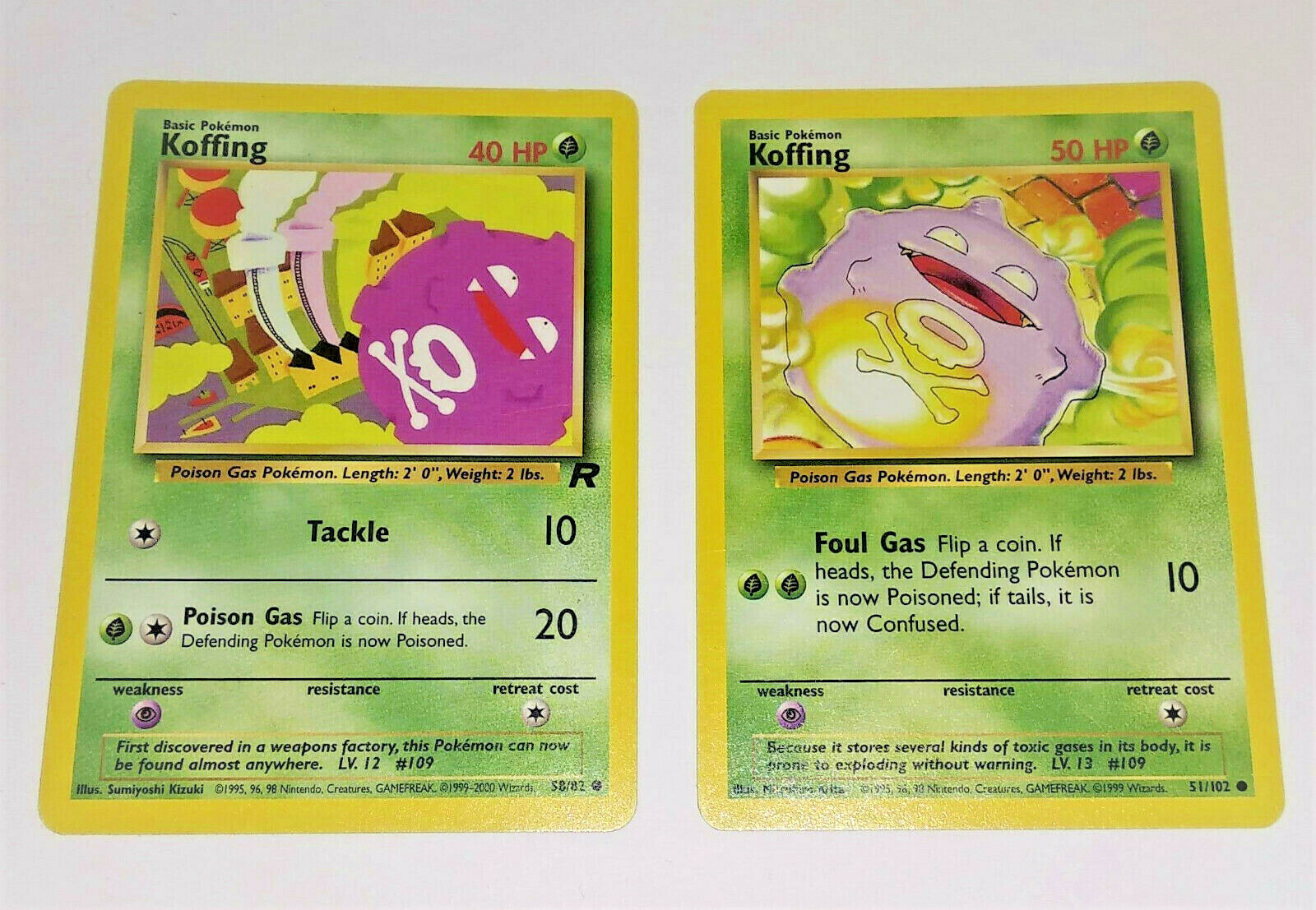 Two RARE Koffing Pokémon Cards 51 102 & 1st Edition 58 82 from year 1999