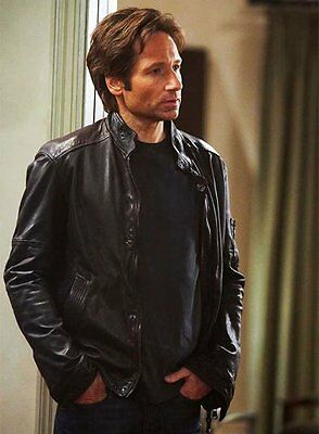 Californication Season V Hank Moody David Duchovny Black Real Leather Jacket