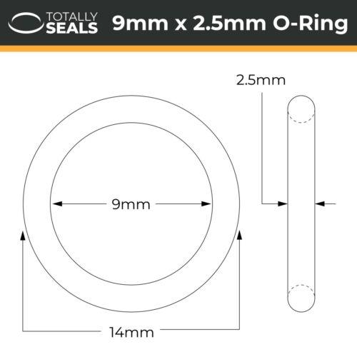 14mm - 9x2.5 Viton o-rings 9mm X 2.5mm Diámetro interior sección transversal Od