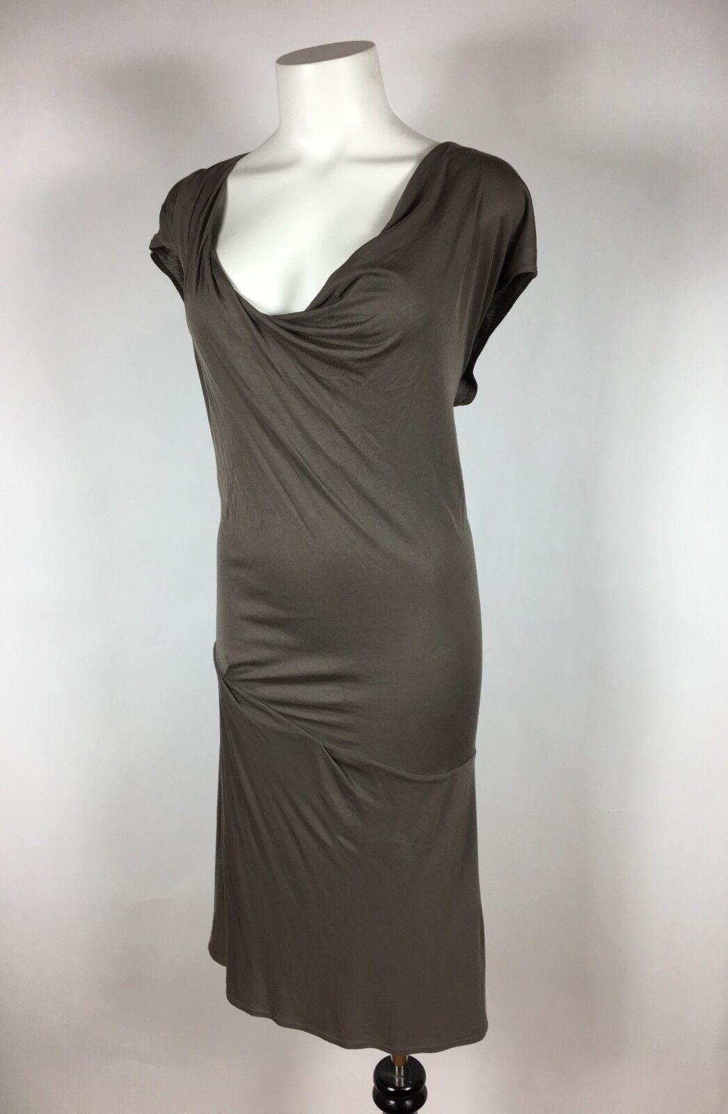 HELMUT LANG Draped Brown Taupe Knee-Length Sheath Dress S