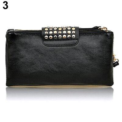 Women Charming Rivet Wallet Card Coin Clutch Purse Wristlet Chic Evening Bag