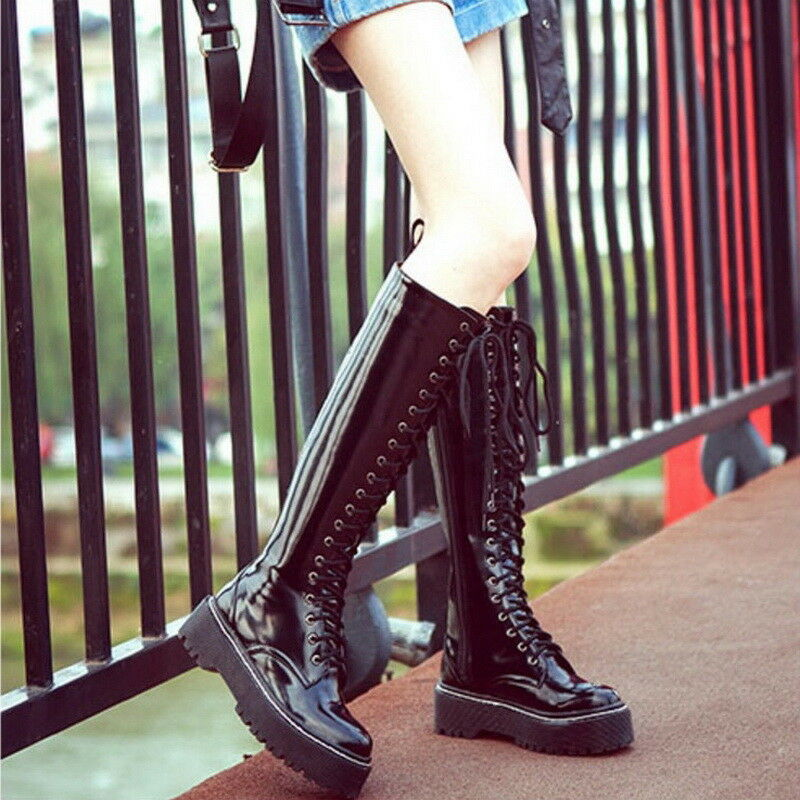 Women Lace Up Knight Boots Creepers Round Toe Oxfords Motorcycle Mid Calt Boots