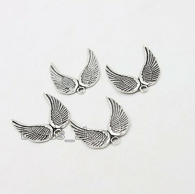 50x Nice Antique Silver Zinc Alloy Wing Shape Pendants Charms Jewelry Makings BS