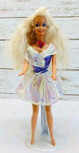 MATTEL-BARBIE-Doll-Long-Blonde-Hair-Blue-Eyes-White-Purple-Dress-12-034-Tall-Used