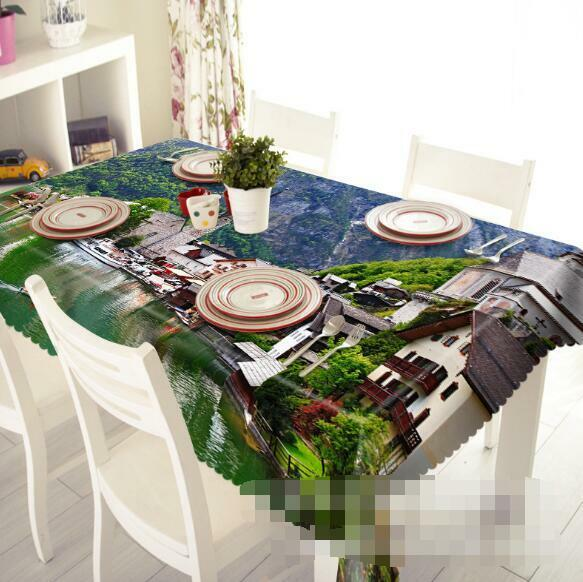 3D Town Lake 5 Tablecloth Table Cover Cloth Birthday Party Event AJ WALLPAPER AU