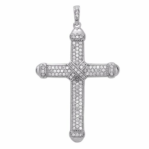 925 Sterling Silver Cross Pendant with AAA Of Cubic Zirconia Unique