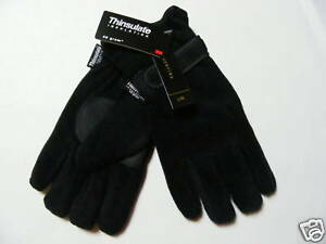 Negro-de-hombre-Thinsulate-Guantes-de-forro-polar-2-Tallas-mediano-amp-XL