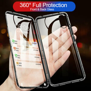 For-iPhone-X-Xs-Max-XR-8Plus-Clear-Case-Cover-Tempered-Glass-Magnetic-Adsorption