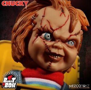 Jeu d'enfants 3 Chucky, visage blessé, boîte, éclaté Mezco Toyz 696198781878